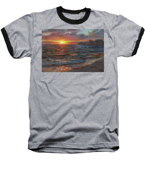Through The Vog - Hawaii Beach Sunset Baseball T-Shirt by Karen Whitworth