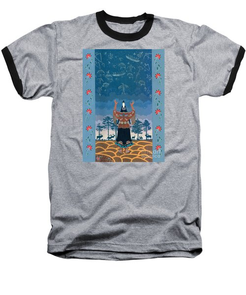 Baseball T-Shirt featuring the painting Thunder Girl II by Chholing Taha