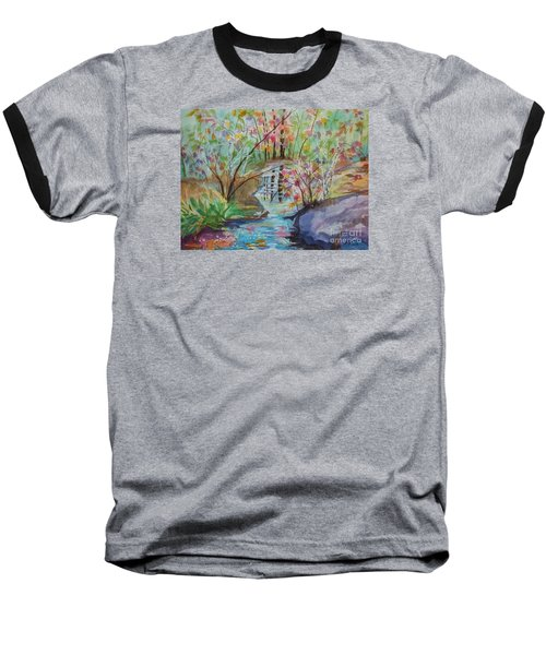 Baseball T-Shirt featuring the painting Thunder Mountain Mystery by Ellen Levinson