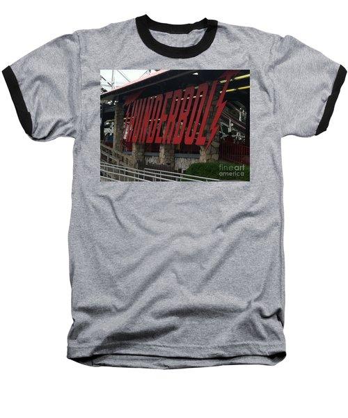 Thunderbolt Roller Coaster Baseball T-Shirt by Michael Krek