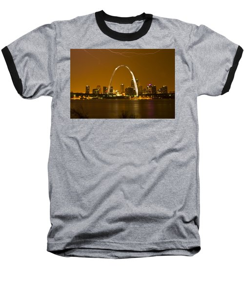 Thunderstorm Over The City Baseball T-Shirt by Garry McMichael