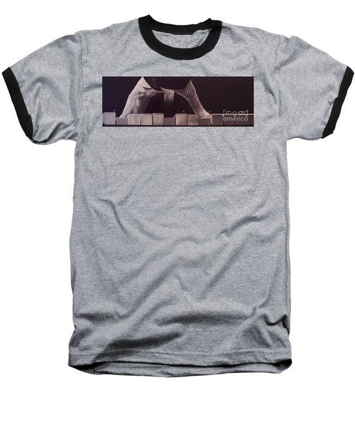 Baseball T-Shirt featuring the drawing Tickling The Ivory Too by Wil Golden
