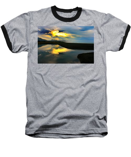 Baseball T-Shirt featuring the photograph Tidal Pond Sunset New Zealand by Amanda Stadther