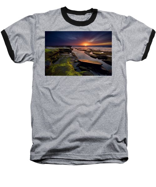 Tidepool Sunsets Baseball T-Shirt by Peter Tellone