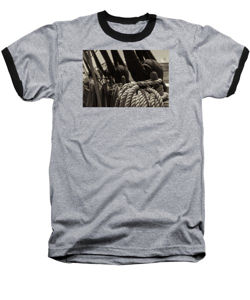 Tied Up Black And White Sepia Baseball T-Shirt