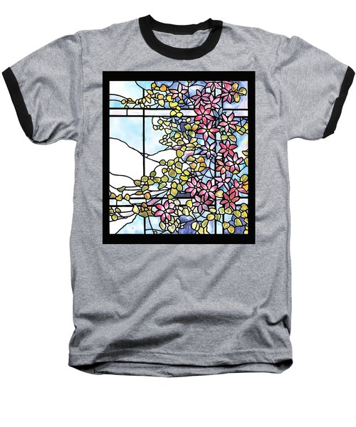 Stained Glass Tiffany Floral Skylight - Fenway Gate Baseball T-Shirt