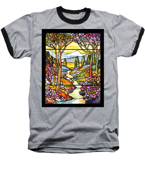 Tiffany Landscape Window Baseball T-Shirt