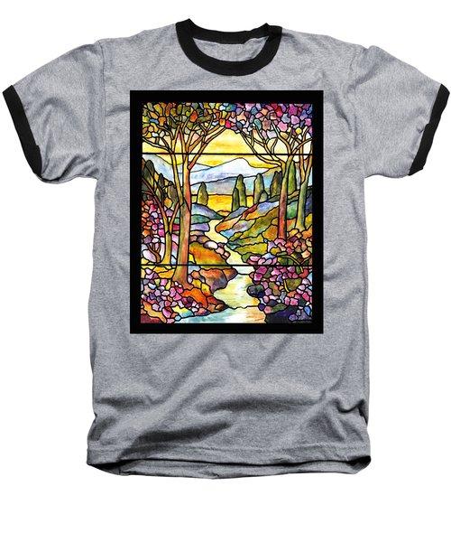 Tiffany Landscape Window Baseball T-Shirt by Donna Walsh