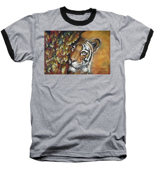 Baseball T-Shirt featuring the painting Tiger 300711 by Selena Boron