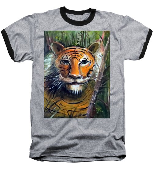 Baseball T-Shirt featuring the painting Tiger by Bernadette Krupa