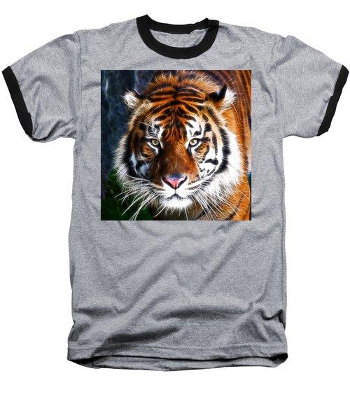 Tiger Close Up Baseball T-Shirt by Steve McKinzie
