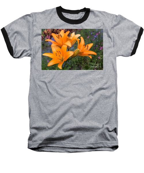 Tiger Lilies Baseball T-Shirt by Arlene Carmel