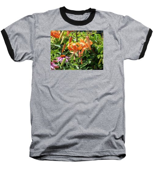 Tiger Lilies Baseball T-Shirt by Catherine Gagne