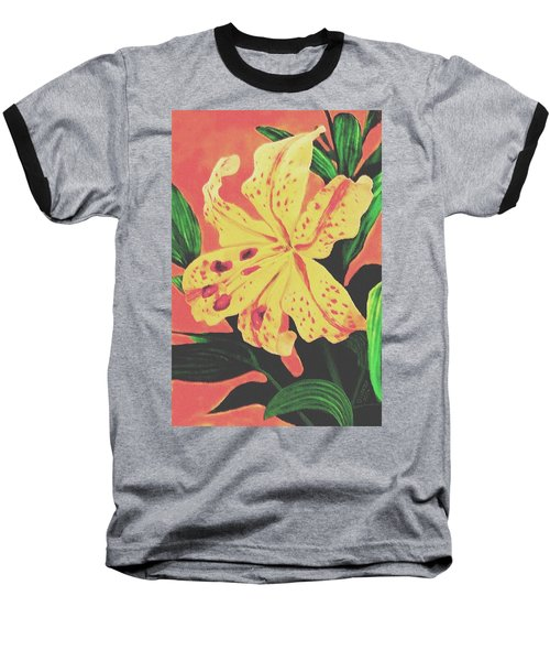 Baseball T-Shirt featuring the painting Tiger Lily by Sophia Schmierer