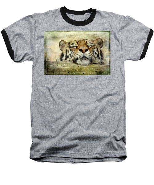 Tiger Snooze Baseball T-Shirt by Athena Mckinzie