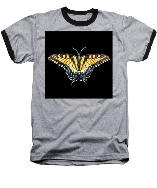 Tiger Swallowtail Butterfly Bedazzled Baseball T-Shirt