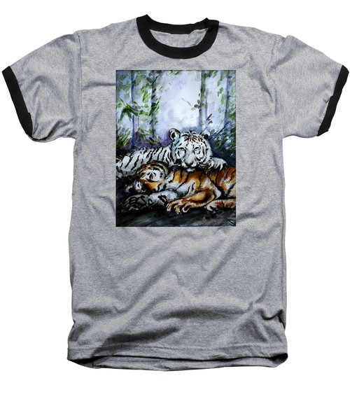 Baseball T-Shirt featuring the painting Tigers-mother And Child by Harsh Malik