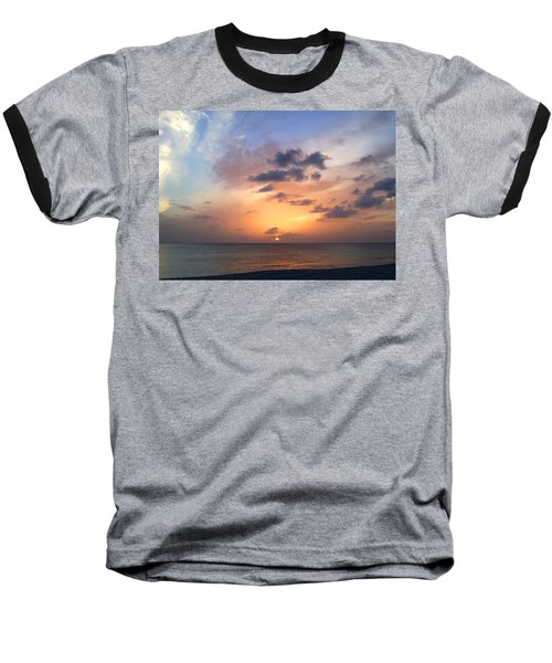 Tiki Beach Caribbean Sunset Baseball T-Shirt