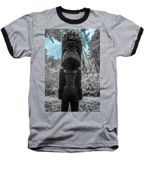 Tiki Man In Infrared Baseball T-Shirt
