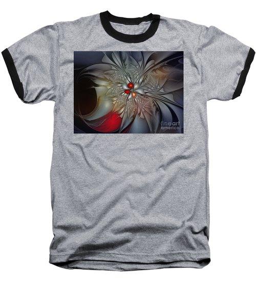 Timeless Elegance-floral Fractal Design Baseball T-Shirt