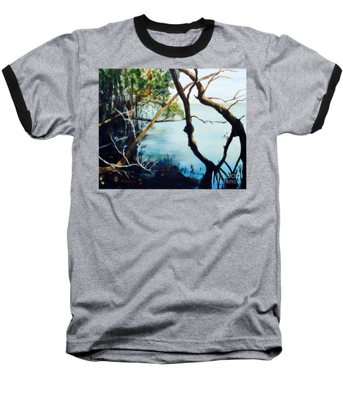 Baseball T-Shirt featuring the painting Timeless Forest by Mary Lynne Powers