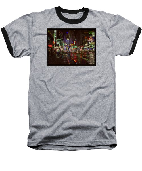 Times Square At Night - After The Rain Baseball T-Shirt by Miriam Danar