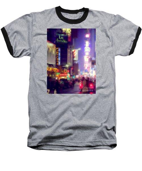 Times Square At Night - Columns Of Light Baseball T-Shirt by Miriam Danar