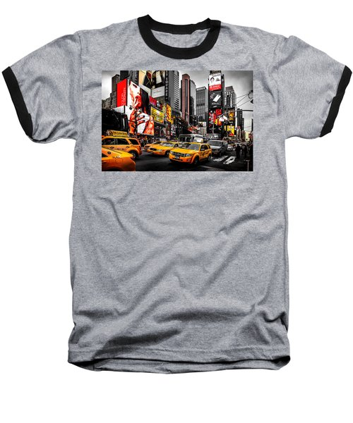 Times Square Taxis Baseball T-Shirt by Az Jackson