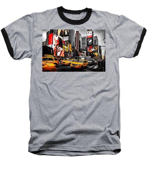 Times Square Taxis Baseball T-Shirt