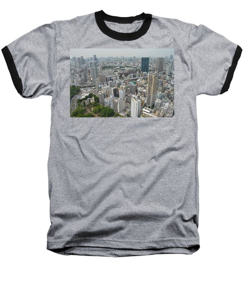 Tokyo Intersection Skyline View From Tokyo Tower Baseball T-Shirt by Jeff at JSJ Photography