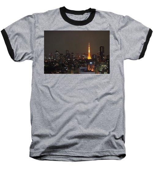 Tokyo Skyline At Night With Tokyo Tower Baseball T-Shirt by Jeff at JSJ Photography