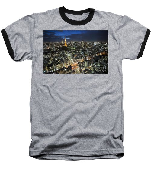 Tokyo Tower At Night Baseball T-Shirt