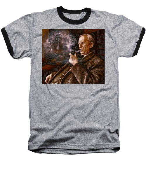 Baseball T-Shirt featuring the painting Tolkien Daydreams by Dave Luebbert