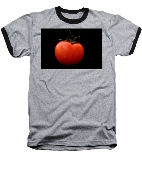 Tomato On Black Baseball T-Shirt by Jeremy Voisey