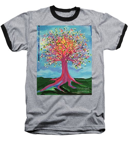 Baseball T-Shirt featuring the painting Tori's Tree By Jrr by First Star Art