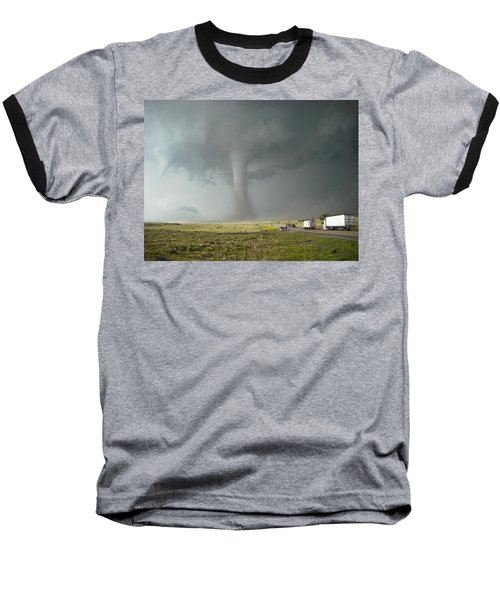 Baseball T-Shirt featuring the photograph Tornado Truck Stop by Ed Sweeney