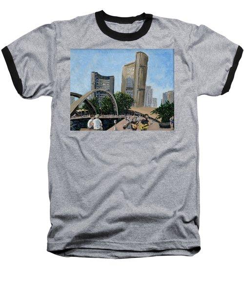 Toronto City Hall Baseball T-Shirt by Ian  MacDonald