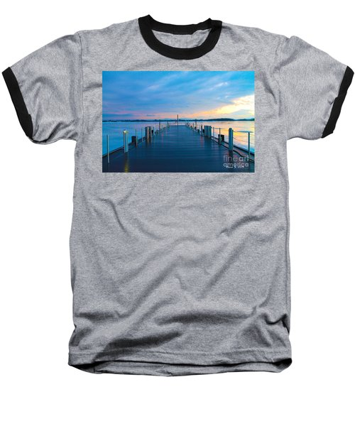 Toronto Pier During A Winter Sunset Baseball T-Shirt by Nina Silver