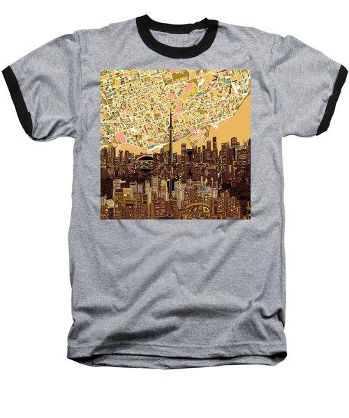 Toronto Skyline Abstract 9 Baseball T-Shirt by Bekim Art