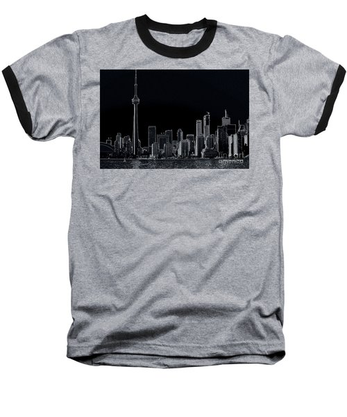 Toronto Skyline Black And White Abstract Baseball T-Shirt