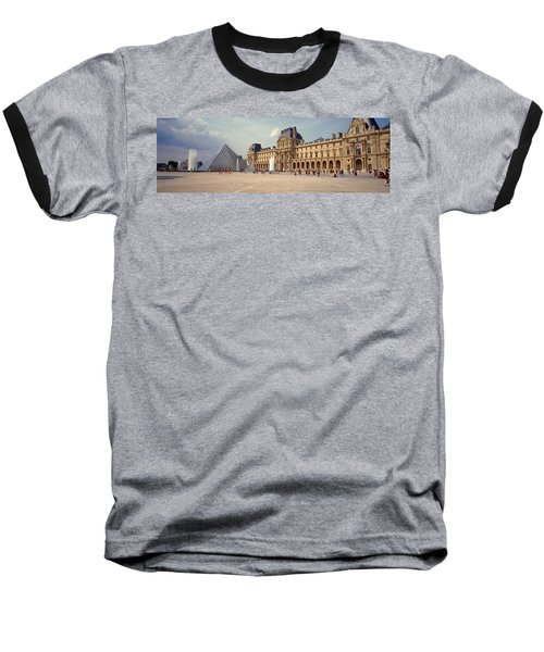 Tourists Near A Pyramid, Louvre Baseball T-Shirt by Panoramic Images