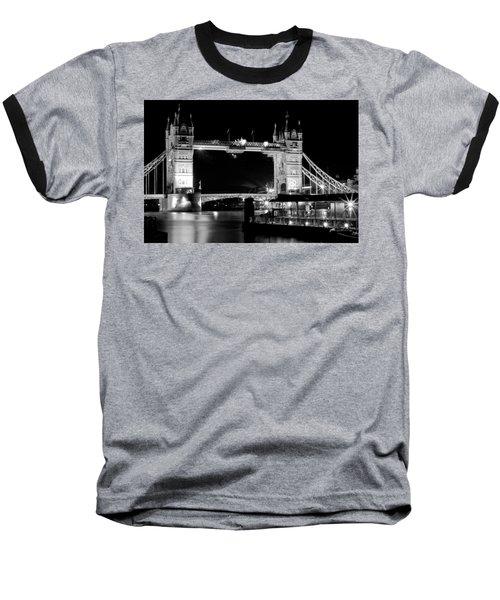 Baseball T-Shirt featuring the photograph Tower Bridge At Night by Maj Seda