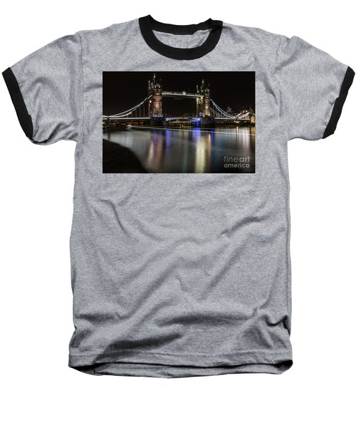 Tower Bridge With Boat Trails Baseball T-Shirt