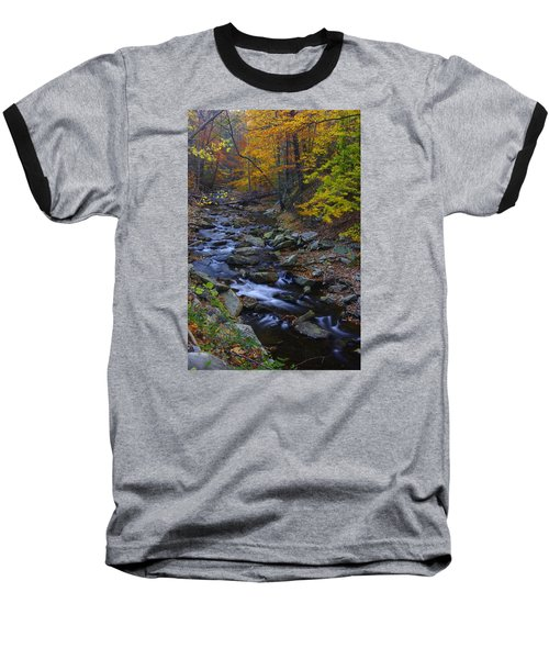 Tracking Color - Big Hunting Creek Catoctin Mountain Park Maryland Autumn Afternoon Baseball T-Shirt