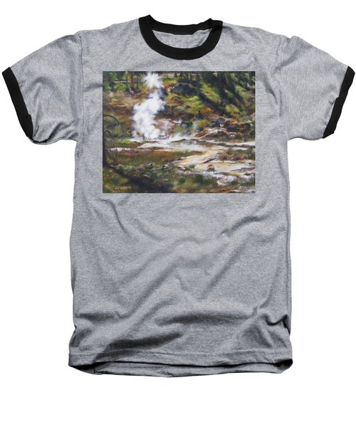Trail To The Artists Paint Pots - Yellowstone Baseball T-Shirt by Lori Brackett