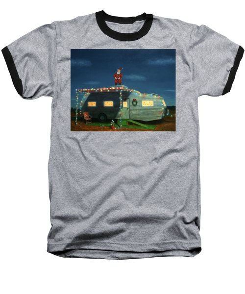 Trailer House Christmas Baseball T-Shirt by James W Johnson