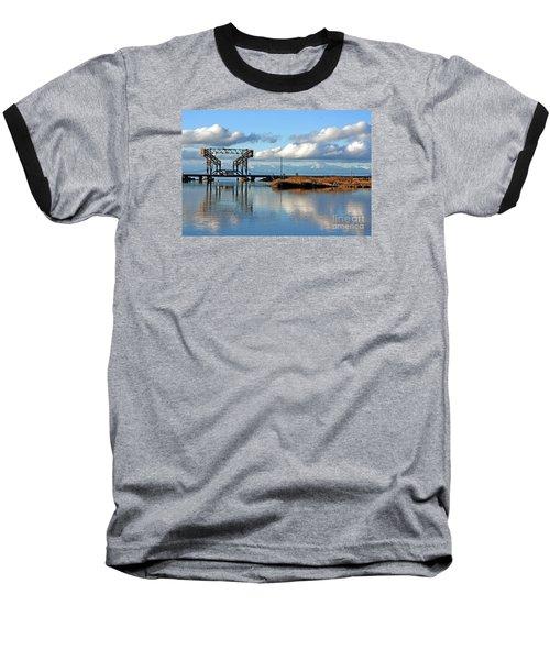 Train Bridge Baseball T-Shirt by Chris Anderson