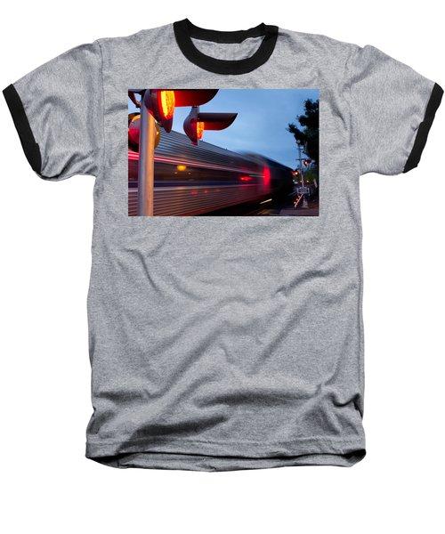 Train Crossing Road Baseball T-Shirt