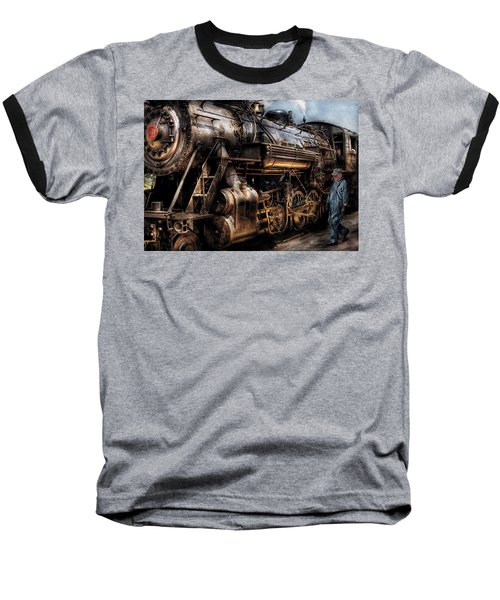 Train - Engine -  Now Boarding Baseball T-Shirt by Mike Savad