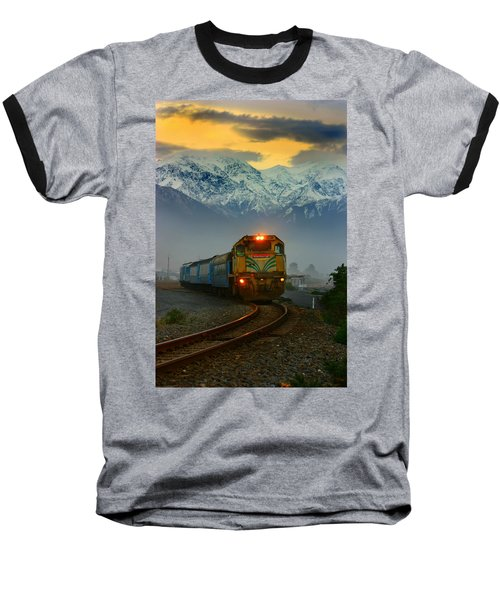 Train In New Zealand Baseball T-Shirt by Amanda Stadther